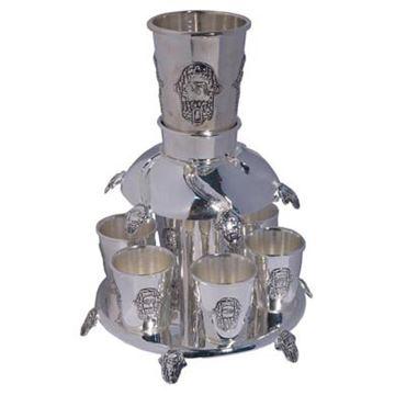 מחלק יין עם 6 גביעים - חמסה כסף - דגם 9095