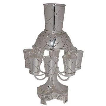 מחלק יין עם 8 גביעים - זרועות X-פרח כסף - דגם 4050