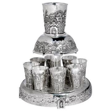 מחלק יין עם 8 גביעים - ירושלים כסף - דגם 5055