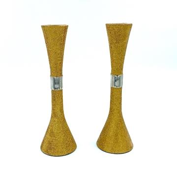 """תמונה של זוג פמוטים בציפוי מנצנץ צבע זהב - 23 ס""""מ"""